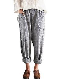 Women's Casual Cotton Linen High Waisted Harem Pants...