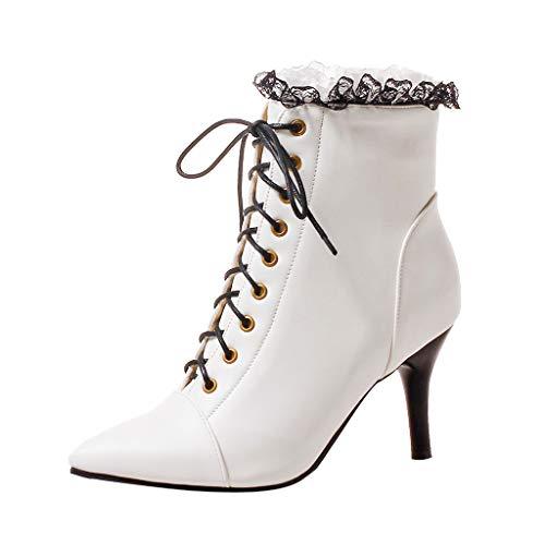 Automne Mode Casual Rbnb Talons Plein Chaussure Classiques Sexy Air Chaussures D'hiver Talon Stiletto Bottes Rétro Simples Femme Pointed Blanc À Fille 6w8qB6SnO