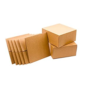 """Hallmark 8"""" Gift Boxes (Pack of 5; Square Kraft) for Christmas, Holidays, Birthdays, Weddings, Crafts, Fathers Day, Care Packages and More"""