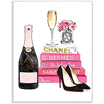 Stupell Industries Glam Pink Fashion Book Champagne Hells and Flowers Wall Plaque Art, Proudly Made in USA