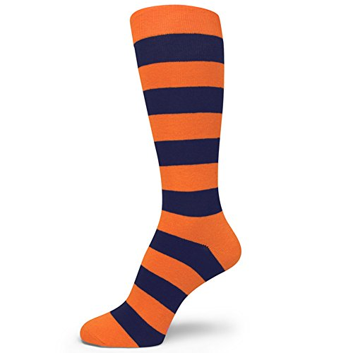 Spotlight Hosiery Two Color Striped Mens Dress Socks,Orange/Navy - Blue Orange Navy And