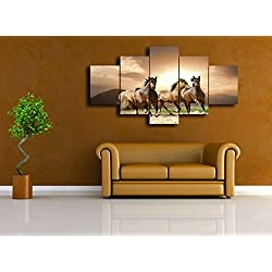 Large Modern Canvas Wall Art,Horses Picture Canvas Prints Home Decor,interior Room Decoration Animals Nature Landscape Canvas Prints Art(60''W x 32''H, Artwork-03)