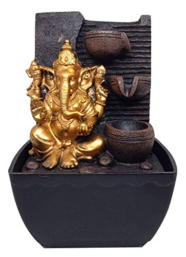 Polyresine Ganesha Table Top Water Fountain Showpiece by Ethnic Karigari