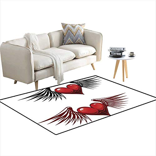 Kids Carpet Playmat Rug Heart with Wings Tattoo 48