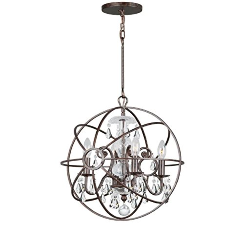 Crystorama 9025-EB-CL-MWP Crystal Accents Four Light Mini Chandeliers from Solaris collection in Bronze/Darkfinish,