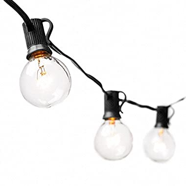 String Lights with 25 G40 Bulbs by Deneve – Connectable Outdoor Bistro Market Cafe Hanging Umbrella Garden Party Patio Lamp Backyard Lights - 100% Guarantee on Light String! (Black)