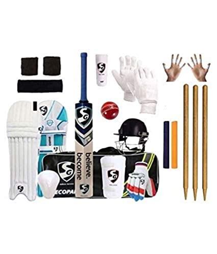 0d3dadbb4 SG Full Cricket Kit with Ezeepak Bag with Stumps (Size 4(Ideal for Age