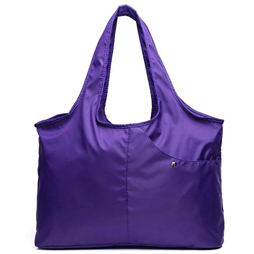 - Volcanic Rock Waterproof Shoulder Shopping Bag Lightweight Totes Water-Resistant Nylon Large Capacity Purse(8045_Purple)