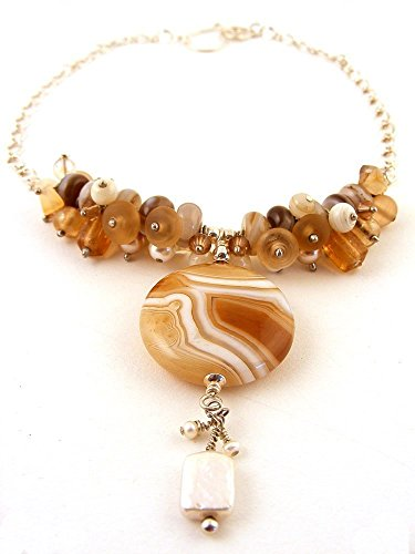 Banded Agate Gemstone Pendant Necklace Caramel Brown and White Swirl with Cultured Freshwater Pearl Dangle
