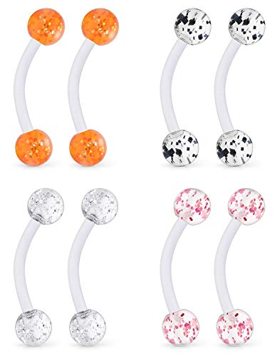 - Ftovosyo 4 Pairs 14G Glitter Bioflex Flexible Acrylic Curved Barbell Snake Eyes Tongue Nipple Ring Body Piercing Jewelry Retainer 16mm Mix Color 1#