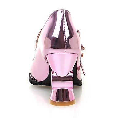 Talones de las mujeres Primavera Verano Otoño Fiesta y Noche de vestir Zapatos de Patentes Invierno Club de cuero de la boda tacón grueso de la hebilla de plata púrpura de oro Purple