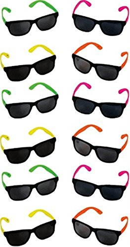 Blue Green Novelty Bulk Lot of 48 Neon 80's Style Party Sunglasses with Dark - Bulk Neon Sunglasses