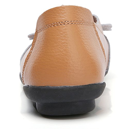 Lingtom Tillfälliga Moccasin Skor Kvinnor Flat Loafer Flickor Tofflor Slip-on För Att Driva Brun