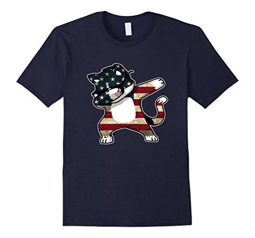 Mens Dabbing Cat American Flag Funny T-Shirt 4th of July Clothing XL - American Flag Cat With