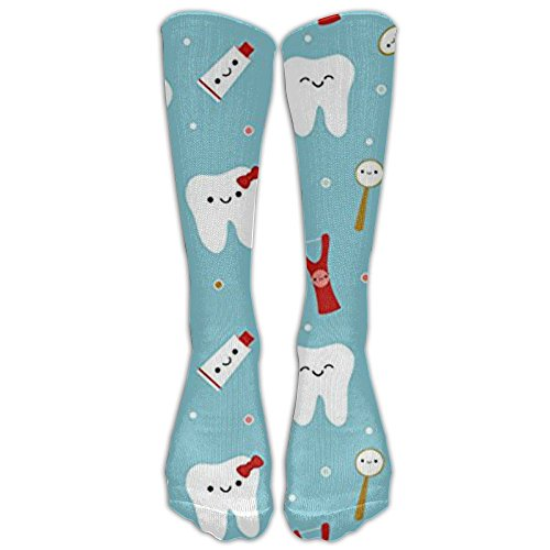 New Dental Fabric Happy Teeth & Friends Knee High Graduated Compression Socks For Women And Men - Best Medical, Nursing, Travel & Flight Socks - Running & Fitness