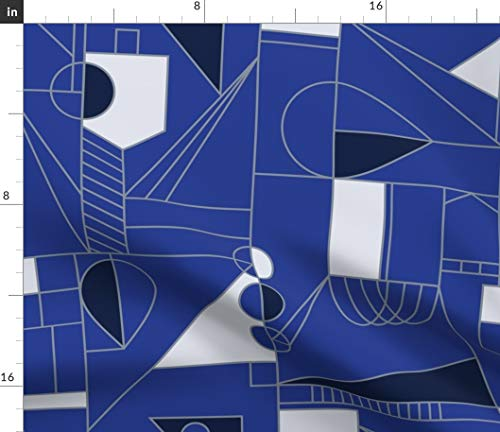 Spoonflower Hanukkah Fabric - Abstract Blue Geometric Black Jewish Modern Line Art Deco Winter Mod Print on Fabric by The Yard - Velvet for Upholstery Home Decor Bottomweight Apparel