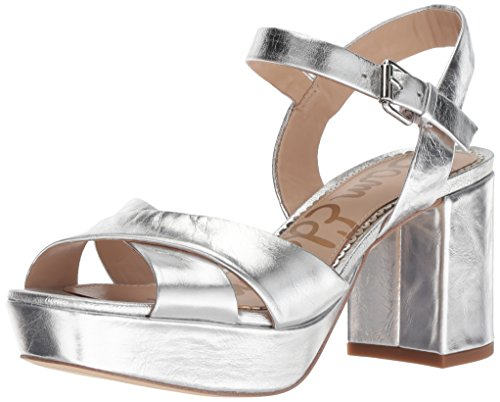 (Sam Edelman Women's Jolene Heeled Sandal, Soft Silver/Metallic Distressed Leather, 8 M)