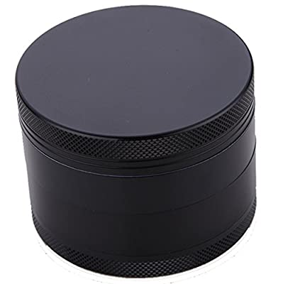 Herb Grinder Plain Black 2.2 Inch 4 Piece with Pollen Catcher from High Life