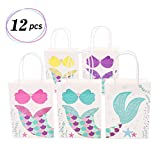 Mermaid Gift Bags Treat Bags for Kids Craft Paper Mermaid Themed Baby Shower Birthday Party Supplies (Multi Color)