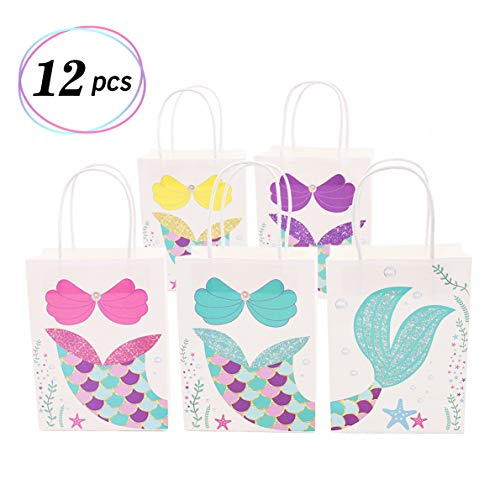 Mermaid Gift Bags Treat Bags for Kids Craft Paper Mermaid Themed Baby Shower Birthday Party Supplies (Multi Color) by Yaaaaasss!