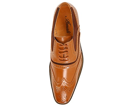 Oxford Style Amali Dress Up Spectator Mitch Tonal Lace Wingtip Tan and Mens Microfiber Smooth Shoe 7fqzF7