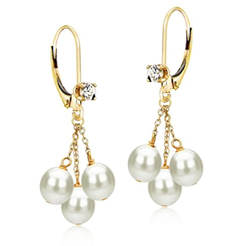 14k Yellow Gold 3-rows 5-5.5mm White Freshwater Cultured Pearl .10tcw CZ Lever-back Earrings by La Regis Jewelry