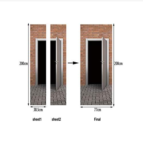 QiZhan541 Red Brick Wall Wood Door Long Self-Adhesive Film Window Films Frosted Glass Sliding Door Bathroom Window Stickers 77×200cm