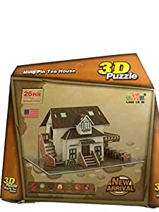 Boys and girls kids building learning educational toys 3D puzzle for the whole family entertainment 26 PCS Ming Pin Tea House game