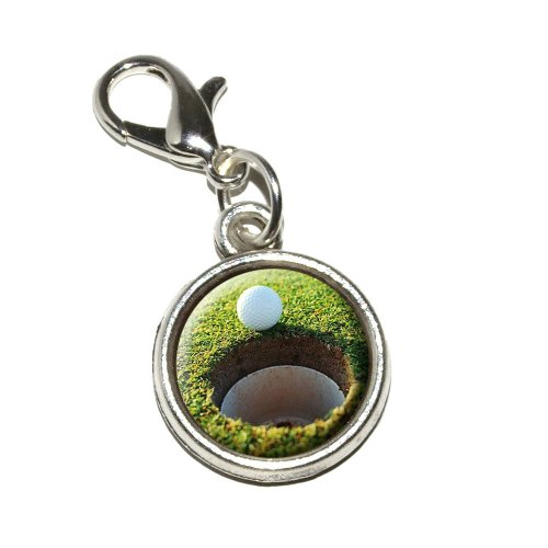 Graphics and More Golf Ball and Hole Golfing Antiqued Bracelet Pendant Zipper Pull Charm with Lobster Clasp