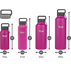Healthy Human 16 oz Water Bottle - Cold 24 Hrs, Hot 12 Hrs. 4 Sizes & 12 Colors. Double Walled Vacuum Insulated Stainless Steel Thermos Flask with Carabiner & Hydro Guide. Color: Mulberry