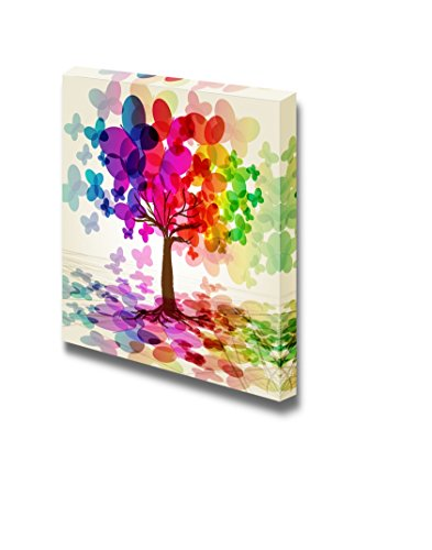 Canvas Prints Wall Art - Abstract Colorful Tree. (rainbow, Abstract