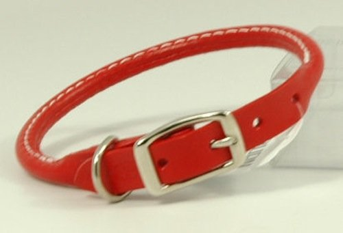 Auburn Leathercrafters Rolled Leather Dog Collar - Red - 10