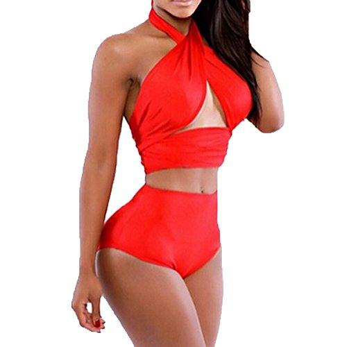 Usstore Women's Bow Swimwear Swimsuit Beachwear High Waist Bikini (M, Red)