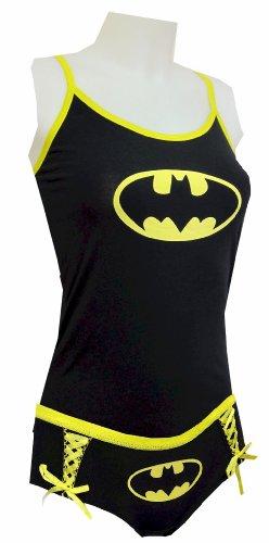 DC Comics Batman Logo Glow in the Dark Cami Tank and Panty Set (Juniors XXX-Large)