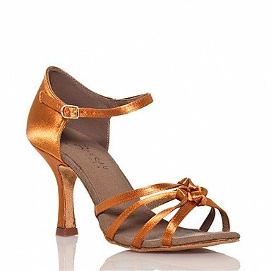 XIAMUO Anpassbare Damen Tanz Schuhe Satin Latin/Salsa Sandalen/Fersen angepasste Ferse Innen-/Leistung Braun, Braun, US 9.5-10/EU 41/ UK 7,5-8/CN 42