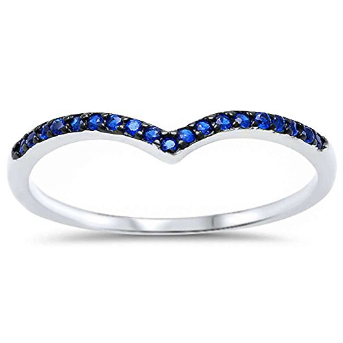 Oxford Diamond Co Sterling Silver Blue Simulated Sapphire V Shape Ring Sizes 8