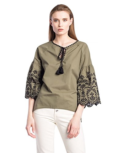(Woman Vyshyvanka Floral Ukrainian Ethnic Embroidered Cotton Beige Shirt Vyshyvanka Long Sleeve Batiste Tops Blouse (Olive,)
