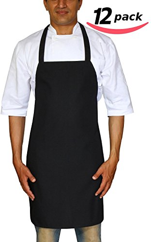 Bistro-Garden-Craftsmen Professional Bib Apron Black Spun Polyester - Set of 12, Durable, Comfortable, Easy Care, Restaurant Commercial Waitress Waiter Aprons - Black (32