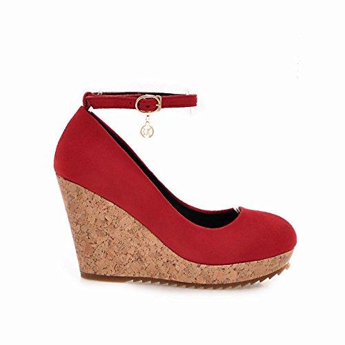 Latasa Womens Faux Suede Ankle Strap Platform Wedges Pumps Red IUy7U93c