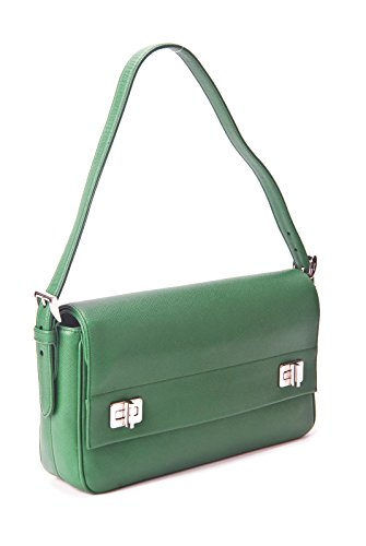 Prada Verde Saffiano Cuir Leather Double Flap Shoulder Bag in Kelly Green