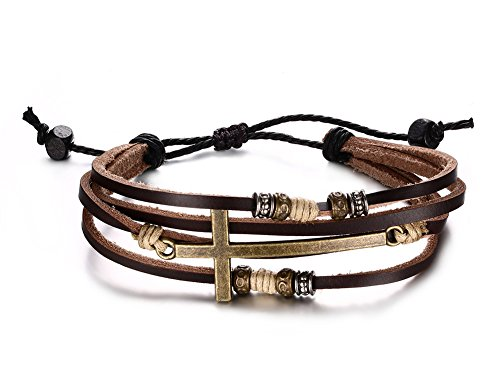 VNOX Braided Genuine Rope Leather Cross Bracelet for Men Women,Length Adjustable 10k Rope Cross