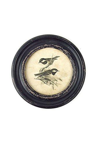 Vagabond Vintage Rustic Wooden Framed Round Bird Print, Wing 3 - Birds Print