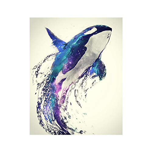 AkoMatial Full Resin Diamond Drill Painting Moon Seaside Whale Cross Stitch Embroidery Modern Wall Decor 4#