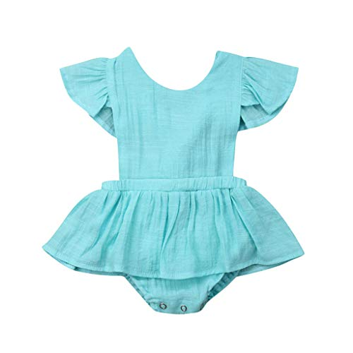 (LiLiMeng Toddler Baby Kid Girls Solid Ruffles Short Sleeve Round Collar Romper Dress Sunsuit Jumpsuit Clothes Pleated Skirt Mint Green)
