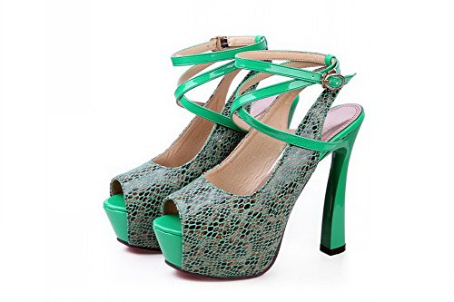 VogueZone009 Womens Open Peep Toe High Heel Platform Blend Materials Embossed Leather Assorted Colors Sandals, Green, 4.5 UK