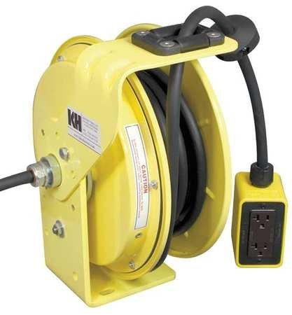 (KH Industries RTB Series ReelTuff Industrial Grade Retractable Power Cord Reel with Black Cable, 12/3 SJOW Cable Prewired with Four Receptacle Outlet Box, 20 Amp, 50' Length, Yellow Powder Coat Finish)