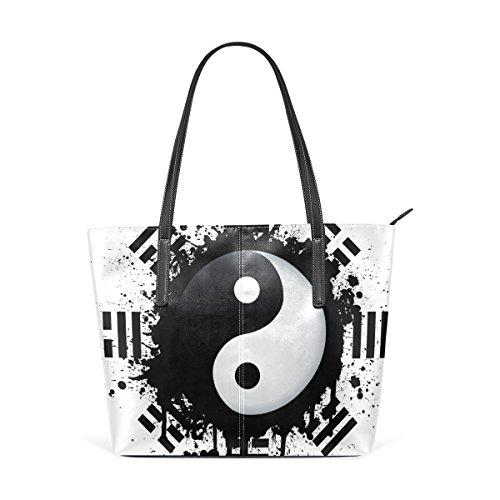 Le Bianco In Yin Per Donne Borse Significa Yang E Nero Pu Muticolour Borsa Pelle Coosun PadZ4qCTT5