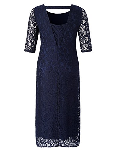 af1f6f6b856 Chicwe Women s Plus Size Stretch Lace Maxi Dress - Evening Wedding Cocktail  Party Dress Navy 1X