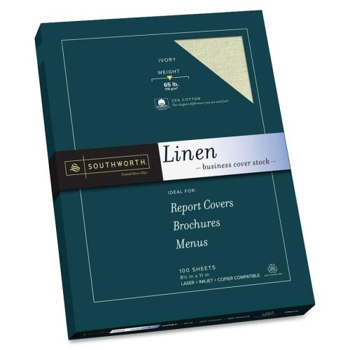 (Wholesale CASE of 10 - Southworth 25% Cotton Linen Business Cover Stock-Fine Linen Paper,65lb,100 SH/BX,Acid-free/Lignin,Ivory)