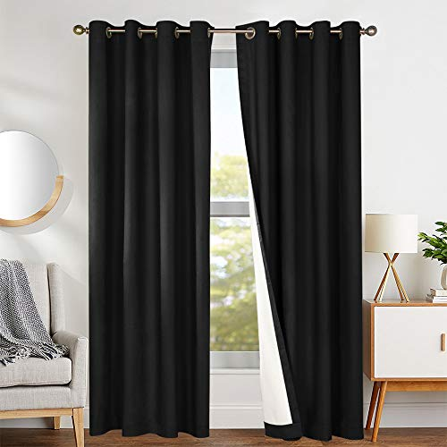 Blackout Curtains Black 84 inch Bedroom Window Curtain Thermal Insulated Drapes One Panel Grommet Top (Reflective Curtains Solar)